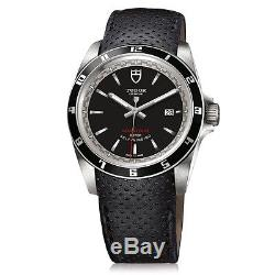 100% Authentic New Tudor Grantour Date Black Dial Leather Strap Watch 20500n