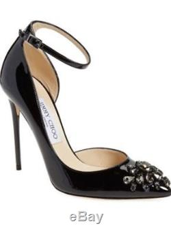 $1125 JIMMY CHOO Lucy Ankle Strap Pump Black Leather Crystal Size 11