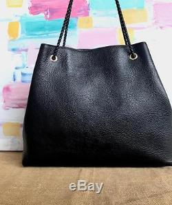 $1900 GUCCI Black Leather Large Gold Logo Gifford Tote Bag Braided Straps On Sal