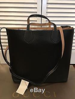 $2,270 Gucci Ramble Reversible Leather With Strap Black/Tan Tote Bag