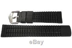 20mm Hirsch Performance Tiger Perforated Black Leather Rubber Watch Band Strap