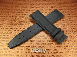 20mm IWC Black Leather Strap TOILE Kevlar Fabric Watch Band PILOT Portuguese x1
