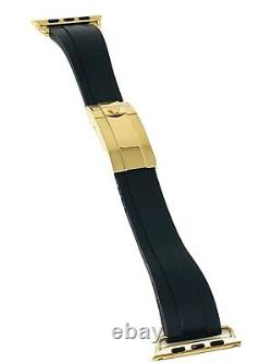 20mm OYSTERFLEX Band 24K Gold ROLEX Deployment buckle 44MM Apple Watch Band ONLY