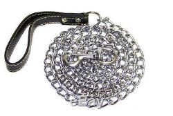 4.0MM X 72 (6ft) Chrome Chain Dog Leashes with Leather Strap