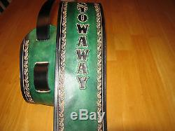 4 Wide Leather Guitar Strap Aqua Green & Black With Your Name Custom Made