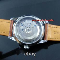 43mm PARNIS white dial brown strap power reserve ST2505 automatic mens watch 413