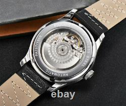 43mm Parnis Power Reserve White Dial Automatic Mens Watch ST2542 Leather strap