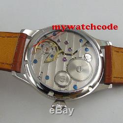 44mm parnis black dial luminous marks leather strap hand winding 6497 mens watch