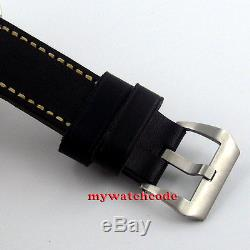 45mm parnis black dial miyota automatic movement leather strap mens watch P243
