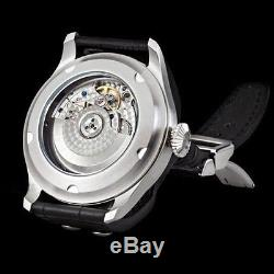 47mm parnis black dial leather strap ST 2551 automatic mens wrist watch 38C