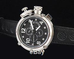 50mm Parnis Big Face black dial automatic leather strap mens solid watch PN246