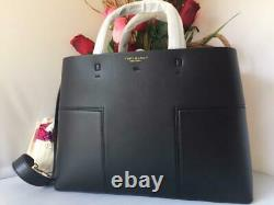 $528 AUTH NWT TORY BURCH Block T Compartment Black Leather Tote Satchel