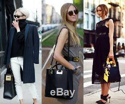 $985 SOPHIE HULME ALBION EAST WEST BLACK LEATHER TOTE BAG With CROSS BODY STRAP