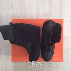 ADIDAS Y-3 Leather Ankle Black Boots 9US Shell Strapped Wedge High Top NIB