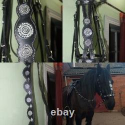 AK Black Horse Bridle With Strap In Leather With Silver/Gold fancy hardware