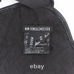 ANN DEMEULEMEESTER black contour stitched strapped harness leather piece top S