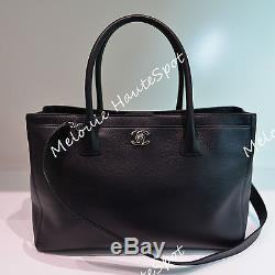 AUTH CHANEL CC BLACK CAVIAR LEATHER SILVER HW CERF TOTE BAG EXCELLENT With STRAP