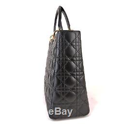 Auth Christian Dior Lady Dior Black Leather 12.6 Hand Bag Made Italy + Strap