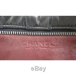 AUTHENTIC CHANEL Black LAMBSKIN LEATHER Chain CC Strap Small CONVERTIBLE BAG