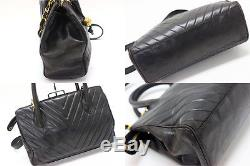 AUTHENTIC CHANEL Lambskin Leather Chevron V-Stitch Hand Bag with Strap Black