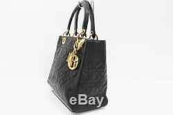 AUTHENTIC CHRISTIAN DIOR Lady Dior Lambskin Leather Hand Bag with Strap Black
