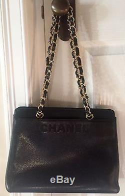 AUTHENTIC VINTAGE CHANEL Black Caviar Leather Bag with Gold Chain Straps