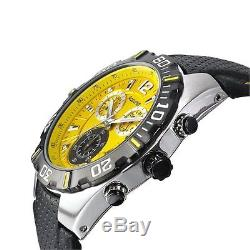 Accurist Chronograph Yellow Dial Black Leather Strap Gents Mens Watch MS832Y