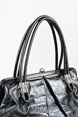 Alexander McQueen $1570 Black Distressed Leather SHW Double Strap Frame Bag