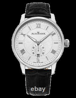 Alexander Swiss Made Mens A102-01 Designer Watch Sapphire Crystal Leather Strap