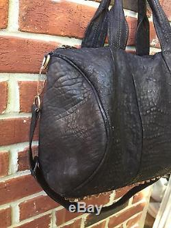Alexander Wang Rocco Bag DYED Black Leather Rose Gold Studded Studs Strap RARE