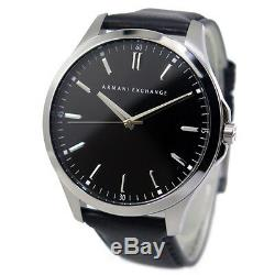 Armani Exchange AX2149 Men's Stainless Steel Black Leather Strap Watch. NEW. 264