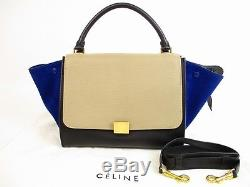 Auth CELINE Leather&Suede Beige&Black&Blue Trapeze Hand Bag withStrap #5740