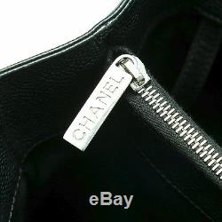 Auth CHANEL Black Caviar Leather CC Embossed Shoulder Bag Silver Hw CHain Strap