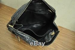 Auth CHANEL Quilted Black Leather Chain Strap Shoulder Tote Bag