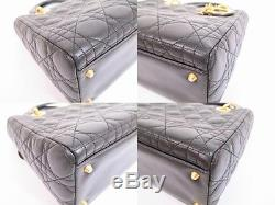 Auth Christian Dior Lamb Leather Black Hand Bag Lady Dior Cannage withStrap #4882