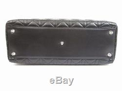 Auth Christian Dior Leather Black Hand Bag Lady Dior Cannage Large withStrap #5556