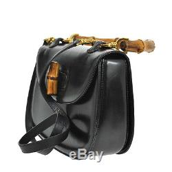 Auth GUCCI Bamboo 2way Hand Bag Shoulder Strap Black Leather Italy VTG BA01210