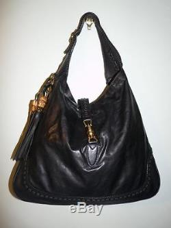 Auth. Gucci Black Leather Jackie Bamboo Tassel Hobo Purse & Strap 219704 $3200