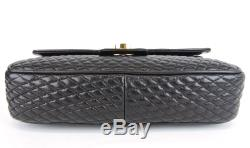 Authentic Bally Black Quilted Leather Double Flap Chain Strap Shoulder Bag