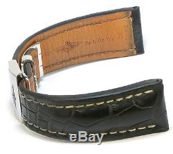 Authentic Breitling Bentley Black Leather Strap Deployment Buckle 24/20 24mm