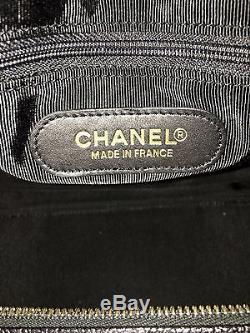 Authentic CHANEL Black Caviar Boston Bag with dust bag and leather strap