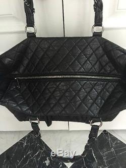Authentic CHANEL Black Quilted Leather Tote withBraided Chain Straps