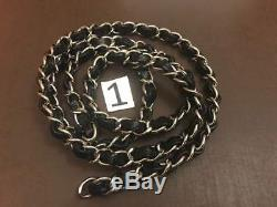 Authentic Chanel Silver Chain Strap with Black Caviar Leather Crossbody