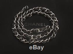Authentic Chanel Silver Chain Strap with Black Lambskin Leather Shoulder