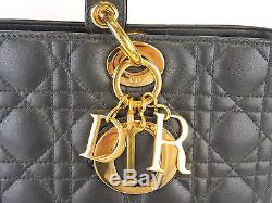 Authentic Christian Dior Lady Dior Cannage Black Leather 12.6 Hand Bag + Strap