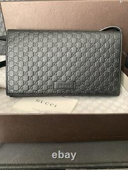 Authentic GUCCI GG Microguccisima Black Leather Wallet on Strap Crossbody Bag