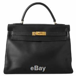 Authentic Hermes Black Box Leather Kelly 32 Tote Bag Ghw + Strap