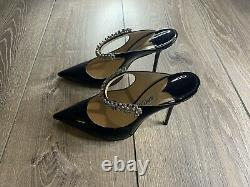 Authentic Jimmy Choo Bing Patent Leather Black embellished strap Mule heel 39