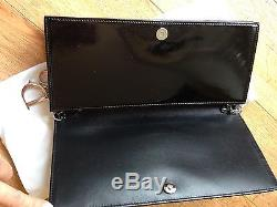 Authentic Lady Dior Clutch Removable Chain Strap Black Patent Leather 2013