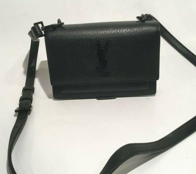 Authentic! Saint Laurent Ysl Sunset Strap Wallet In Black Grained Leather